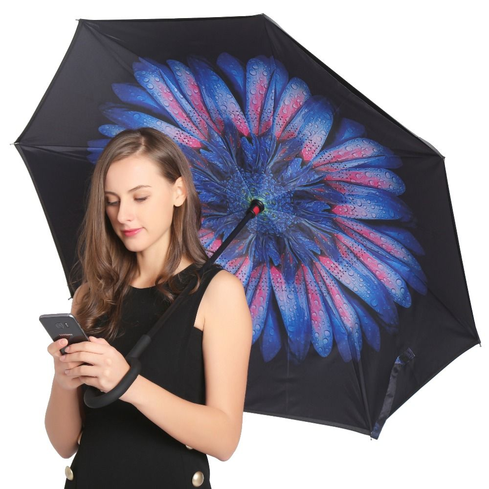 JESSEKAMM Drop Shipping <font><b>Windproof</b></font> Reverse Folding Double Layer Inverted Umbrellas Self Stand Rain Sun Protection C-Hook For Car