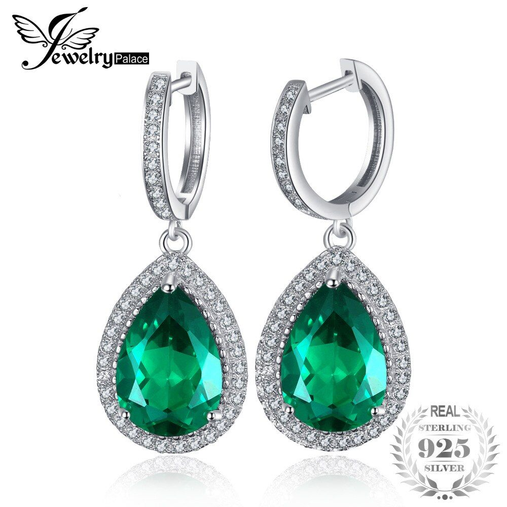 JewelryPalace Luxury Pear Cut 8.4ct Green Created Emerald Earrings Solid 925 Sterling Silver Fine Jewelry Brand New Accessories
