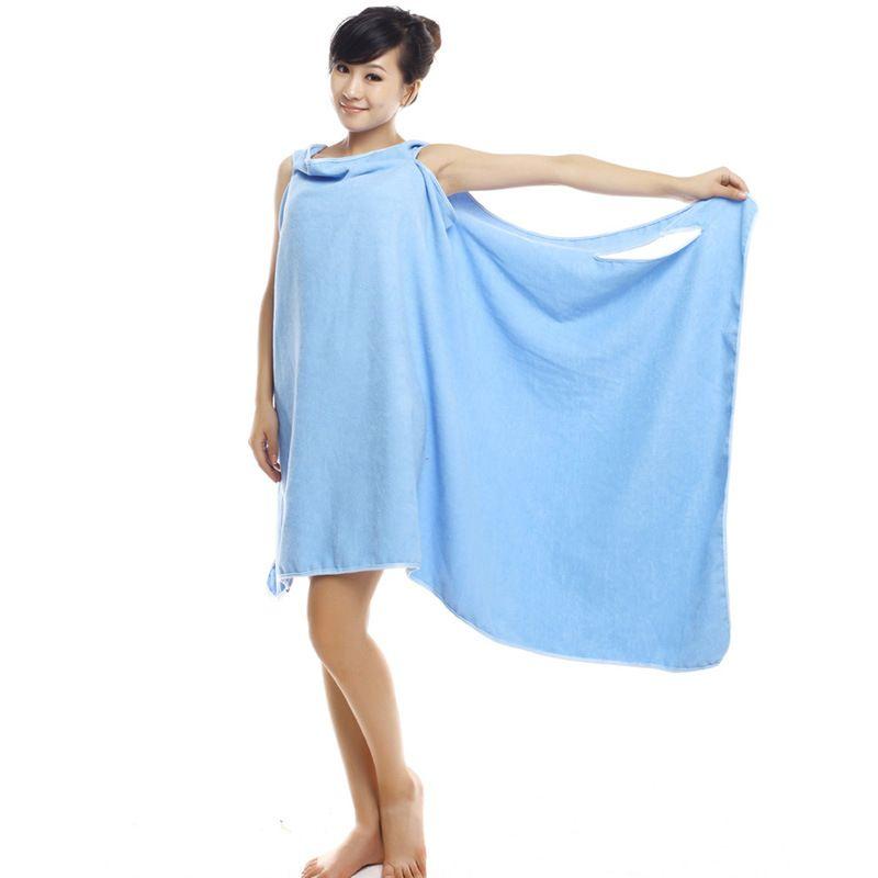 New Wearable Microfiber Women Sexy Bath Towel Dry Wash clothing Wrap Women Bath Towels Spa Beach Dress Wrap Drop Shipping