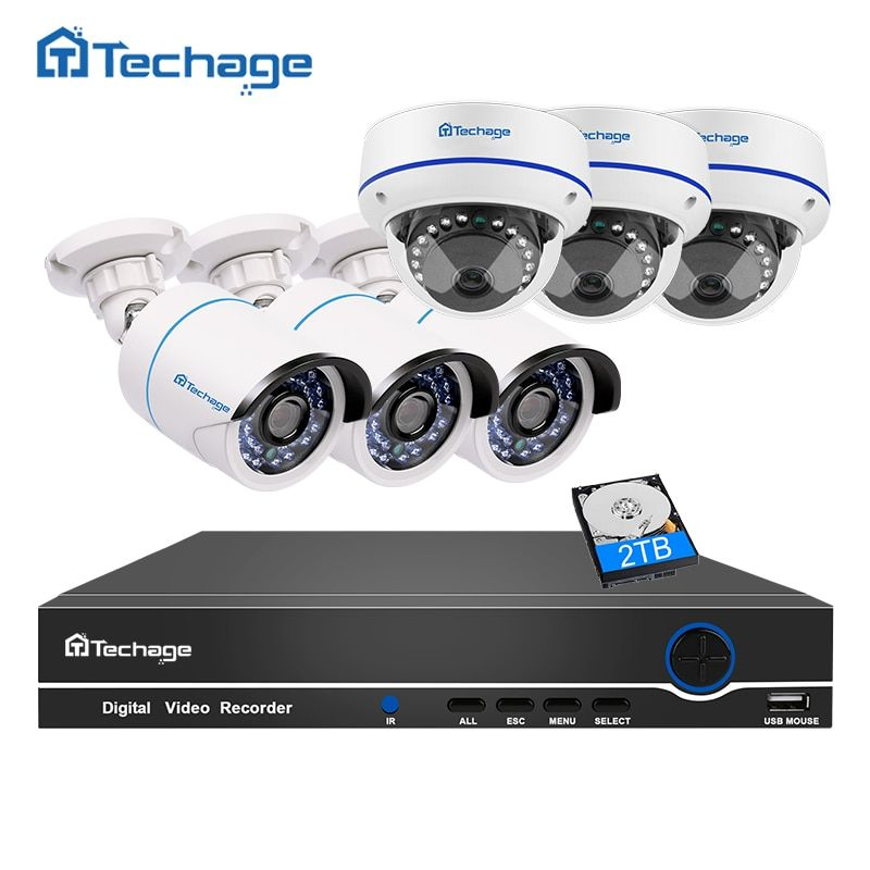 Techage 8CH 1080P POE CCTV System NVR Kit 6PCS 2MP Vandalproof Anti-vandal Dome Indoor IP Camera P2P Onvif Security POE DIY Kit