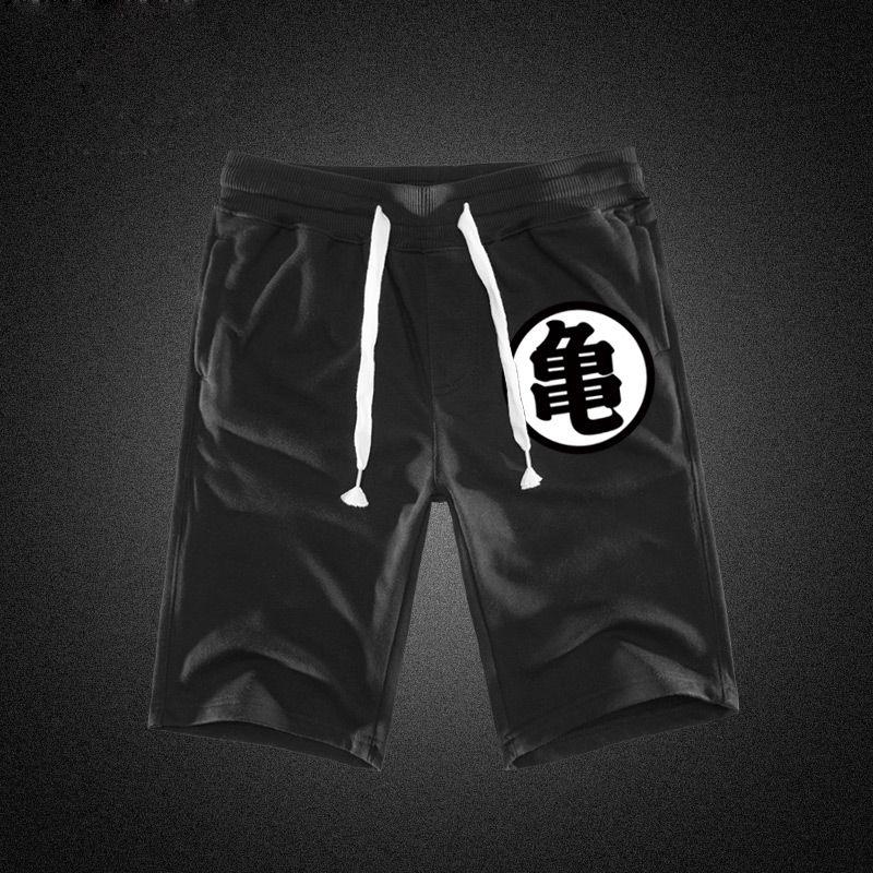 Summer Funny Print Shorts Men Cotton Dragon Ball Goku Black Hot Pockets Waistband Mens Shorts Knee Fashion Sweatpants Casual