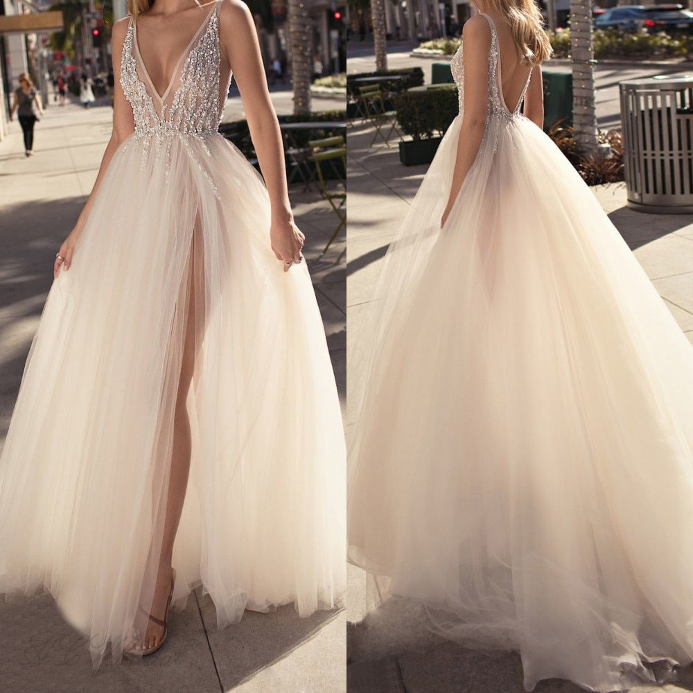 Charming 2018 Tulle Evening Gowns Backless V Neck High Split Sexy Prom Party Gowns Custom Made Special Occasion Dresses Cheap