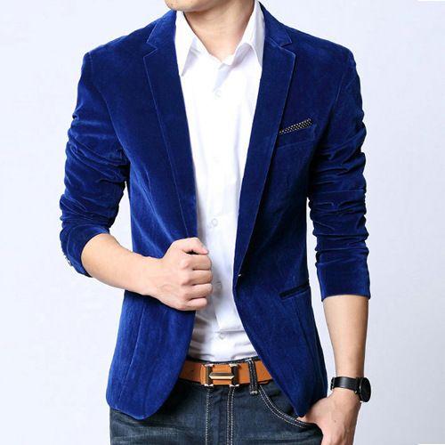 Мужской пиджак Slim Fit пиджак черный синий бархат пальто весна-осень верхняя одежда модная новинка 2016 пиджак мужской Chaquetas Hombre