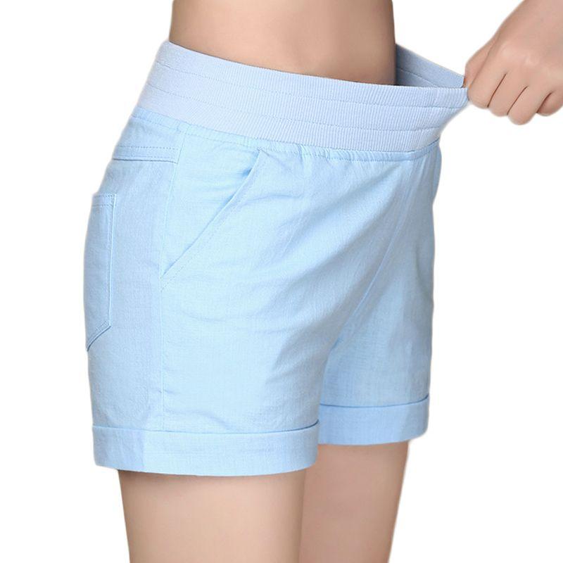 2017 européenne et américaine BF été vent femme couleur bonbon taille haute en lin shorts femmes lâche taille élastique shorts grande taille