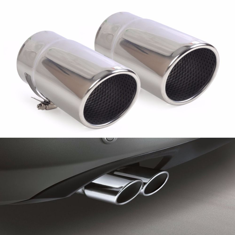 DWCX 2X STAINLESS STEEL EXHAUST TAIL REAR MUFFLER TIP PIPE TAILPIPE For VW Passat B6 2006 - 2009 2010 Passat CC Free Shipping