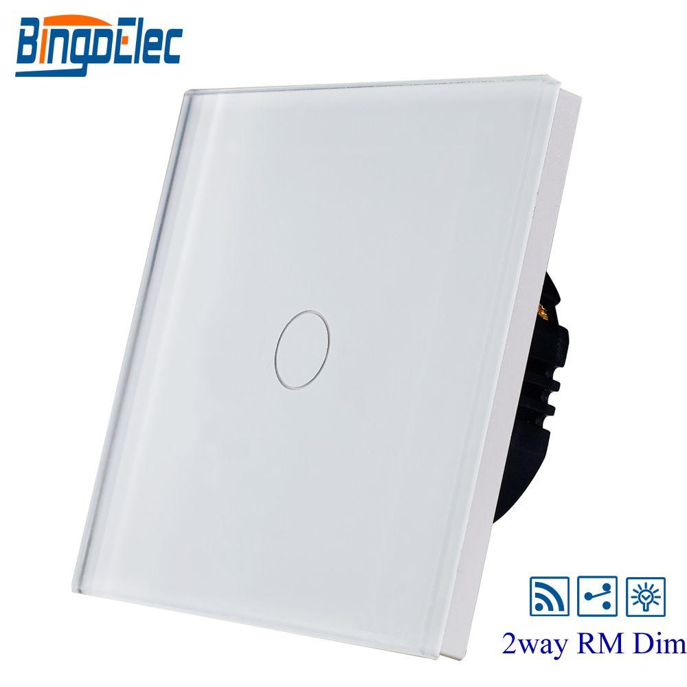 BINGOELEC EU/UK,black toughened glass panel 1gang 2way remote dimmer light switch,touch wall switch,AC110-240V