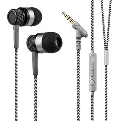 4 Colors Universal Mobile Phone Wired Earbuds Nylon Braided In Ear Earphone Rock Super Base Earpiece with Mic Volumn Control