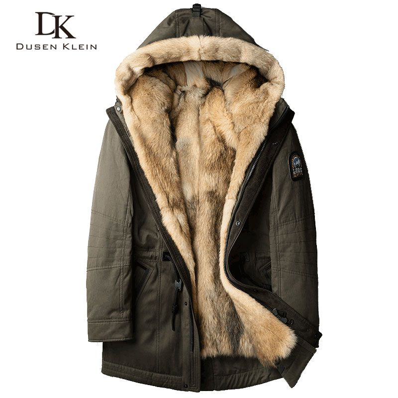 Wolf fur for men Thick jackets long coats Designer fashin travel to overcome the winter Warm luxury hooded jackets 61E1125