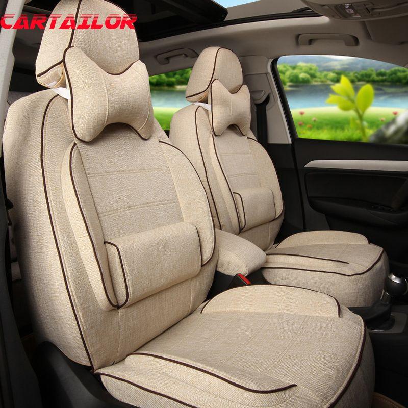 CARTAILOR Vorne und Hinten Cover Sitze für Volvo XC60 Auto Sitz Abdeckung Leinen Tuch Auto Kissen Abdeckungen Airbag Schwarz Auto seat Protector