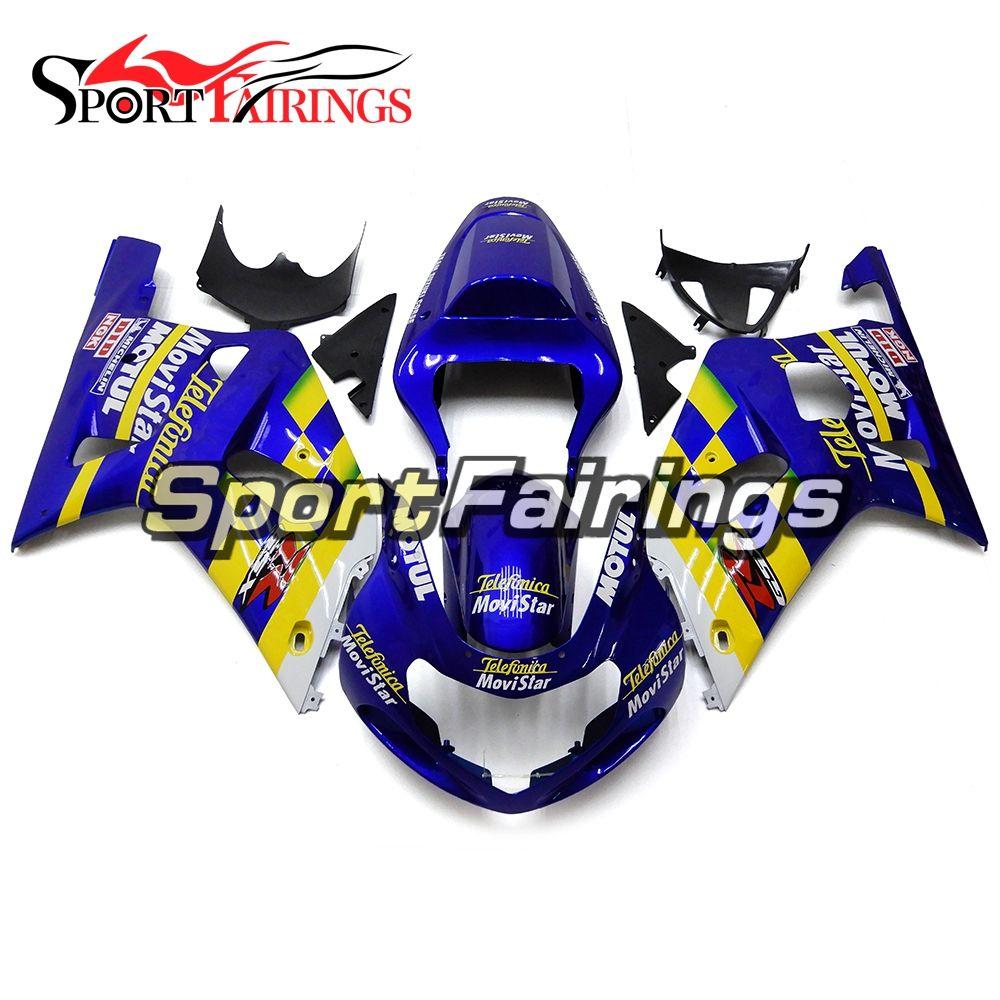 Verkleidungen Für Suzuki GSXR600 750 K1 Jahr 00 01 02 03 2000-2003 ABS Motorrad Verkleidung Kit Karosserie Cowling Blau Gelb weiß