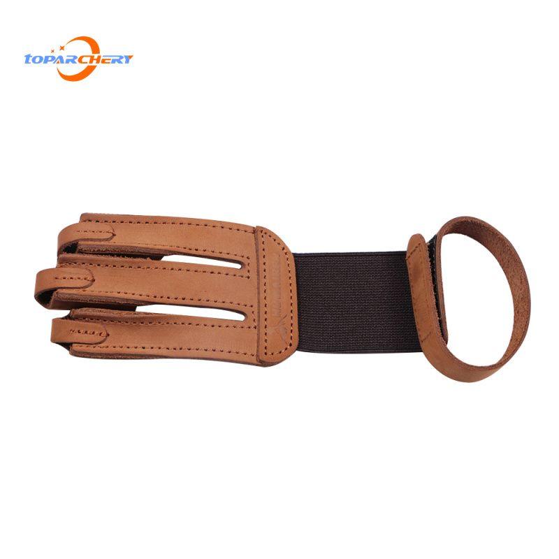 Bogenschießen 3 Fingerschutz Schutzhandschuh mit Kuh Leder Finger Tab Schutz für Recurve Longbow Jagd Schießtraining Spiel