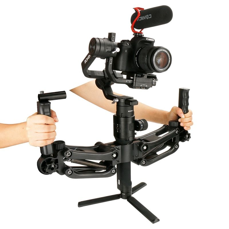 AgimbalGear 4.5KG Load 5 Axis Stabilizer Gimbal for Dji Zhiyun Crane 2 Plus Feiyu Adjustable Springs Dual Hand Grips Handle