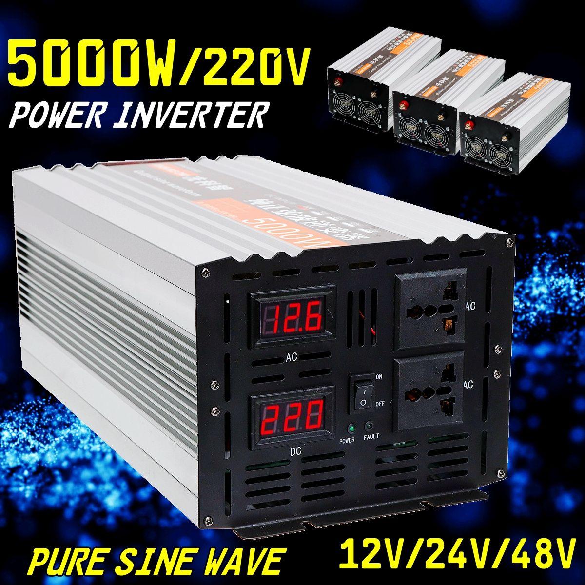 Inverter reine sinus welle 2500 watt 5000 watt P eak DC 12 v/24 v/48 v zu AC 220 v Spannung Transformator Converte Doppel LED digital display
