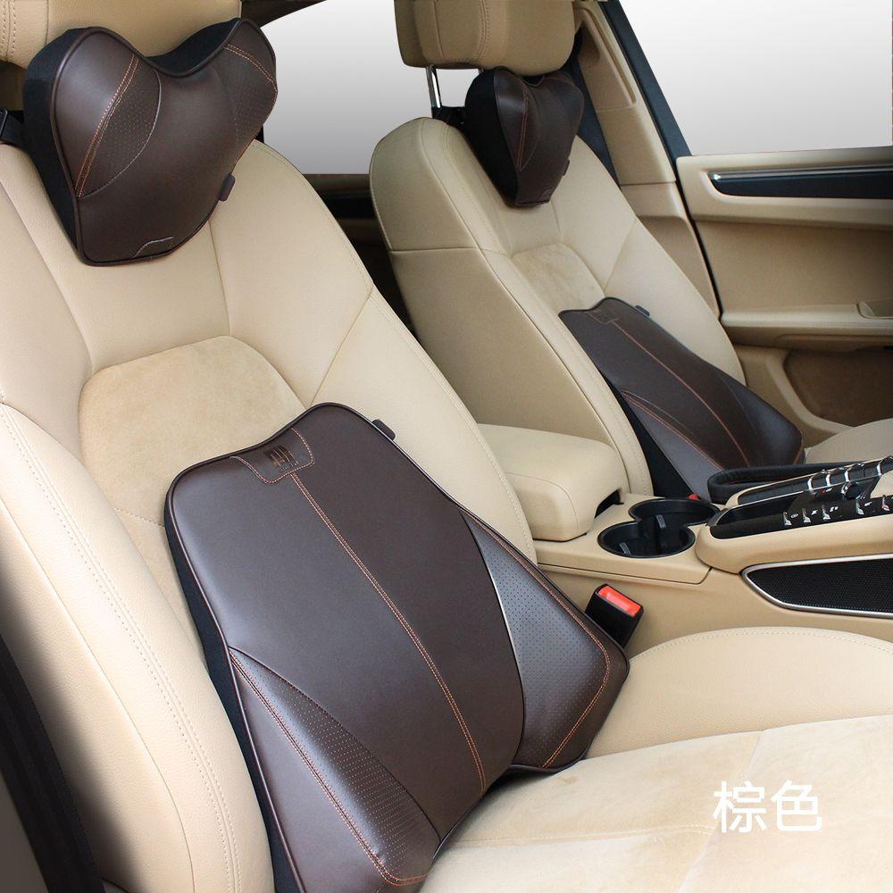 Автомобилей для укладки-Обложка из натуральной кожи + memory foam подголовник автомобиля подушки назад поддержка поясничного подушка-подголовн...