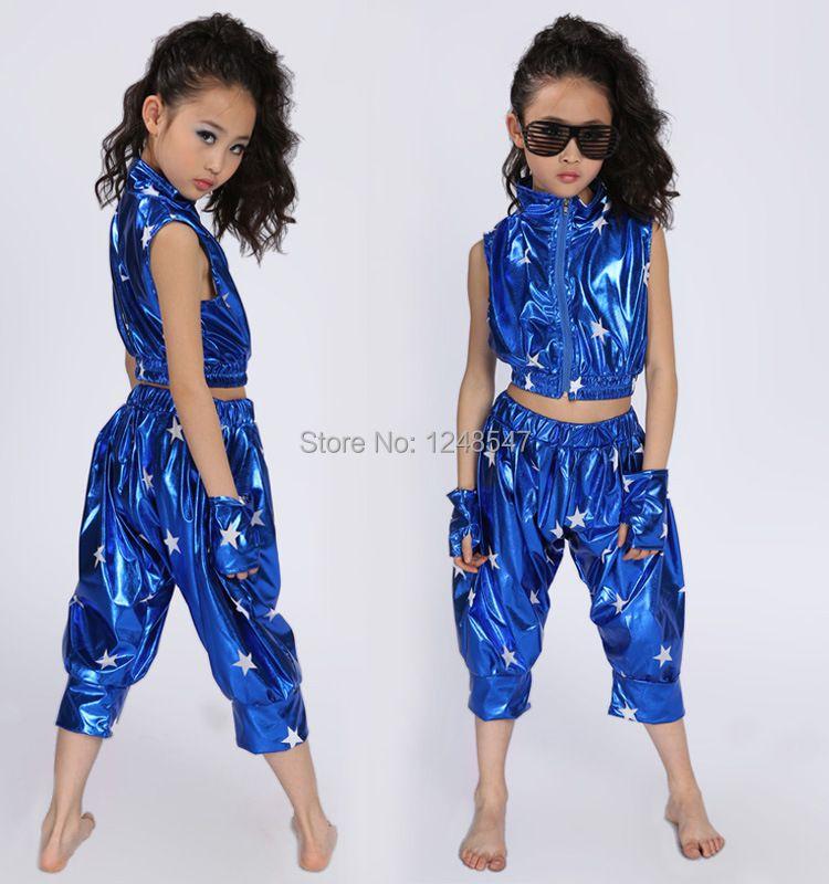 Au détail!! livraison Gratuite Nouveau 2015 Unisexe Enfants Vêtements Set Hip Hop Performance Vêtements Pantalon Court Jazz Costumes De Danse