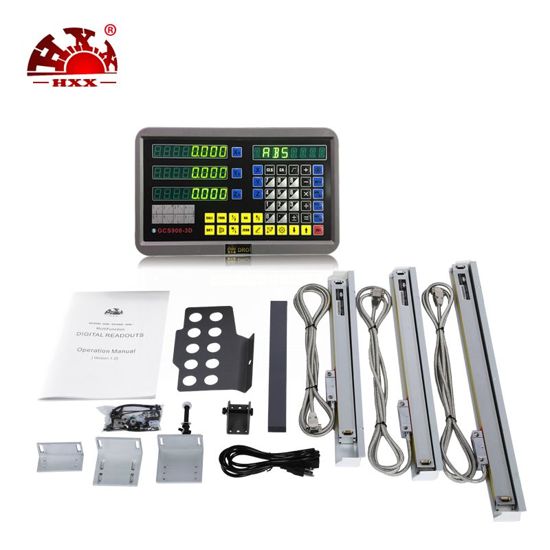 hxx new 3 axis dro kit digital readout display and 3 pcs 5u 2 inch to 40 inch linear glass scale/sensor/encoder for all machines