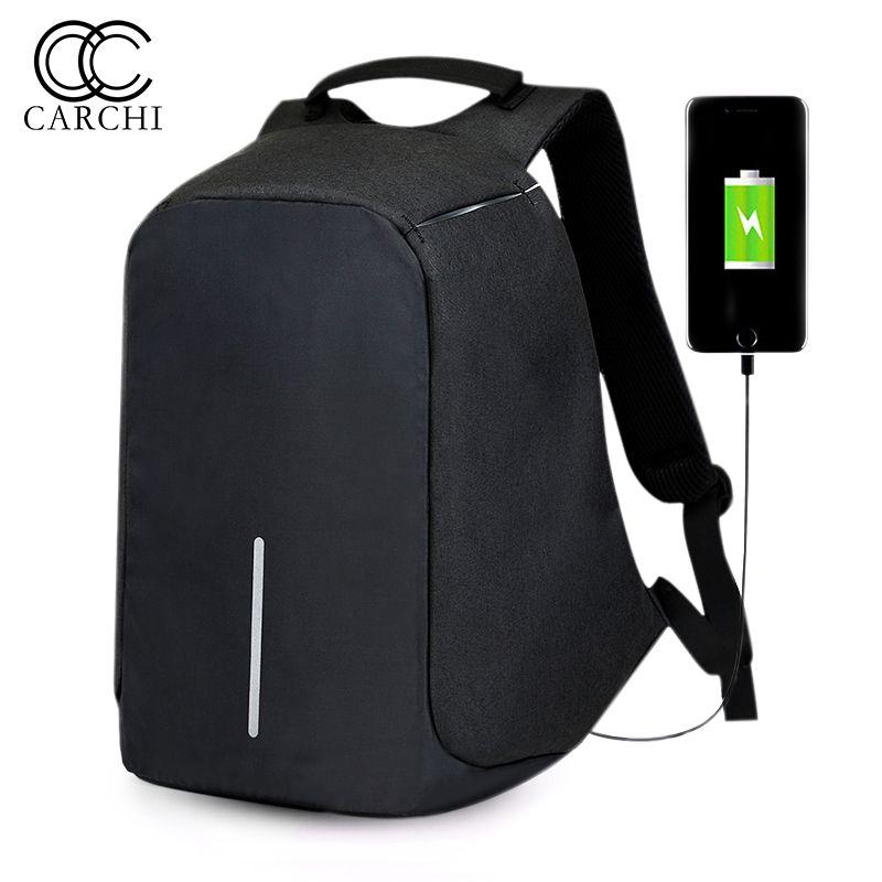 Carchi холст Для мужчин анти кражи рюкзак мешок USB зарядки 15 дюймов ноутбука Тетрадь рюкзак для Для мужчин Водонепроницаемый путешествовать че...
