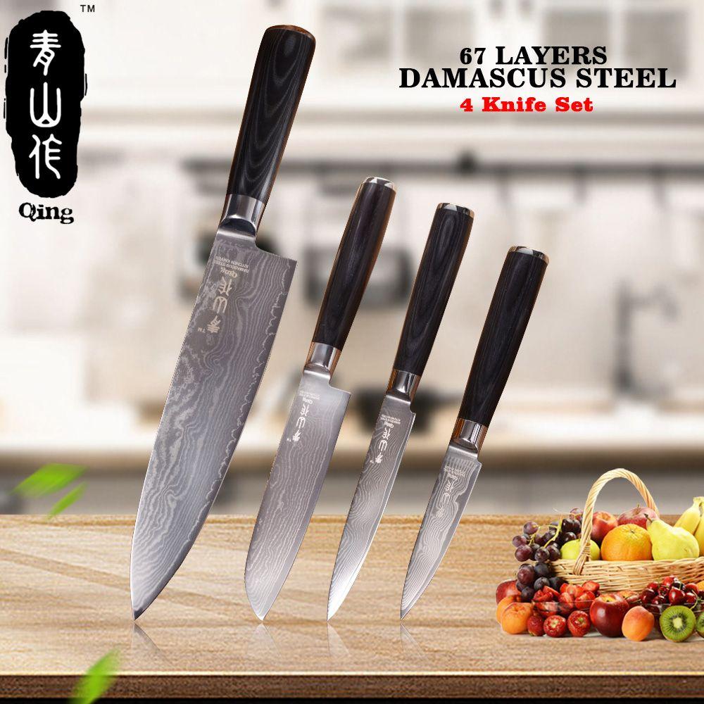 QING 67 Schichten Stahl Kochen Werkzeuge Schwarz Farbe Holz Griff Hohe Zähigkeit VG10 Damaskus Messer 3,5 5 5 8 Sharp Küche Messer