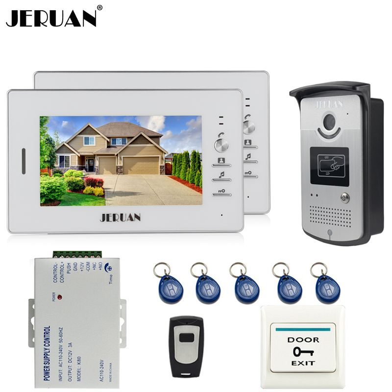 JERUAN Home 2 White Doorbell intercom 7`` LCD Video Door Phone Intercom System kit 2 Monitors 700TVL RFID Access COMS Camera