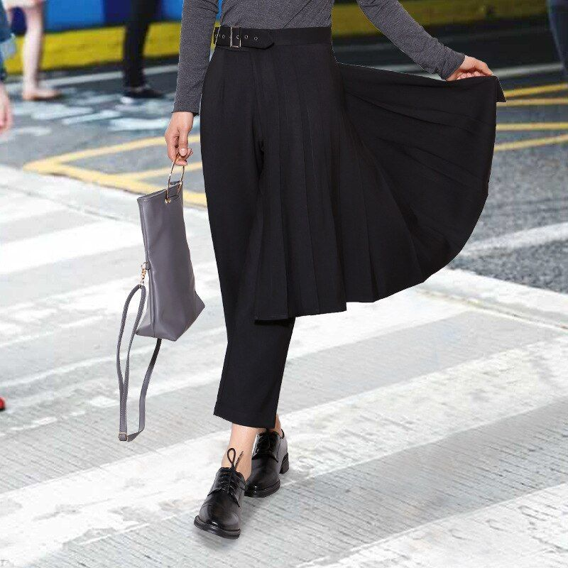 Nouveau 2017 printemps rue nouvelle taille boucle pli jupe + pantalon Slim deux pièces femmes costume