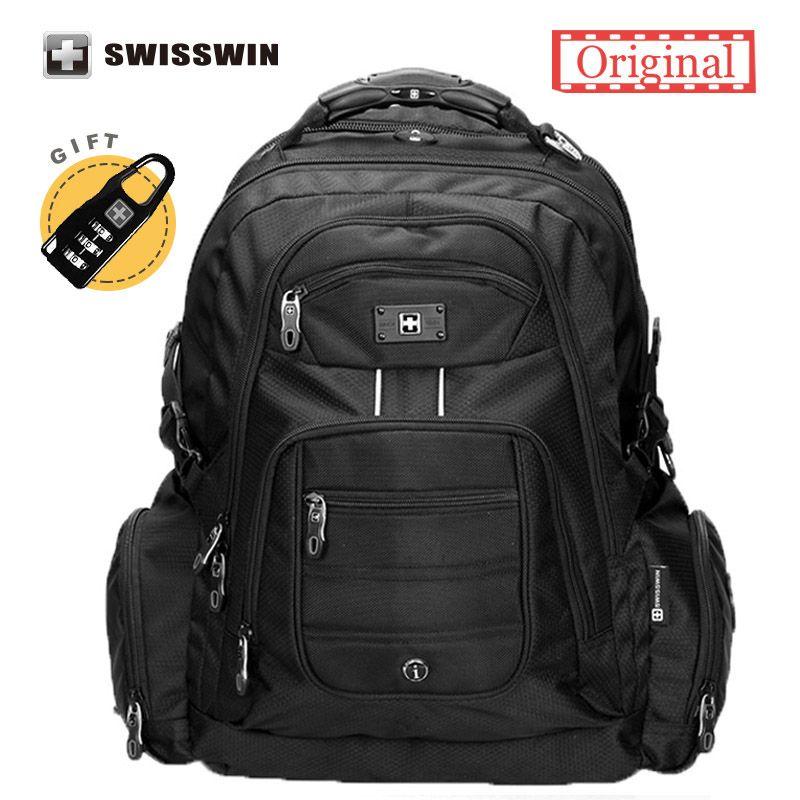 Swisswin 17 inch Men's Laptop Backpack Waterproof Nylon Notebook Computer Bag High Quality 37L Big Travel Backpack Black