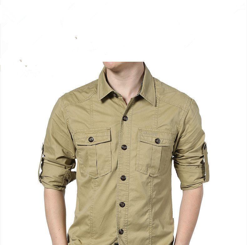Men Outdoor Shirts Long sleeve Breathable M-4XL Large size 100% Cotton Shirts Sports Cago Camping Climbing Tactics Army shirts