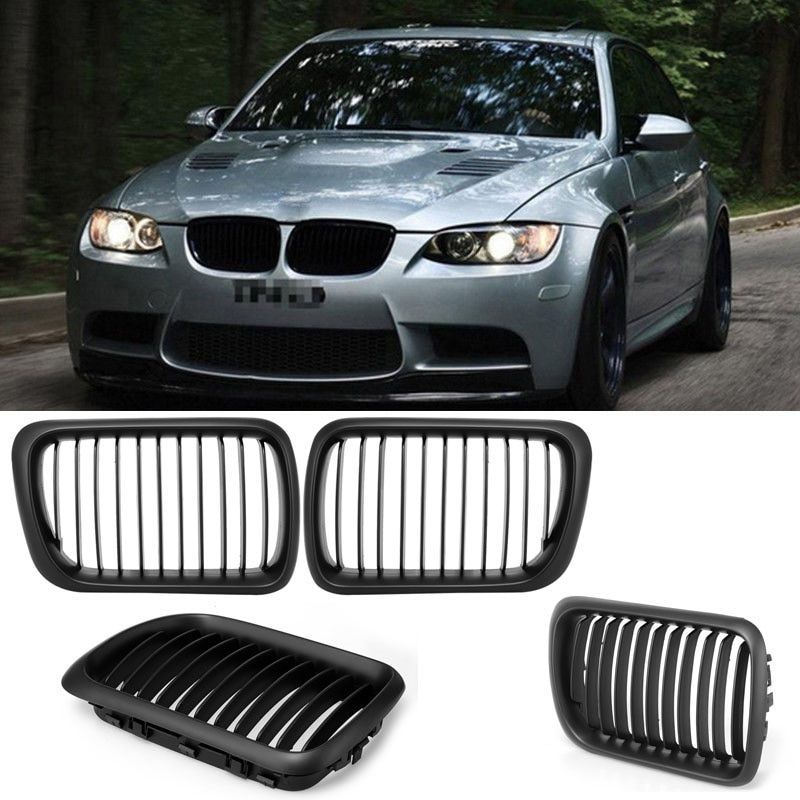 2pcs ABS Front Hood Kidney Grille Grills Gloss Black Fit for BMW E36 3-Series 1997 1998 1999 Auto Car Styling