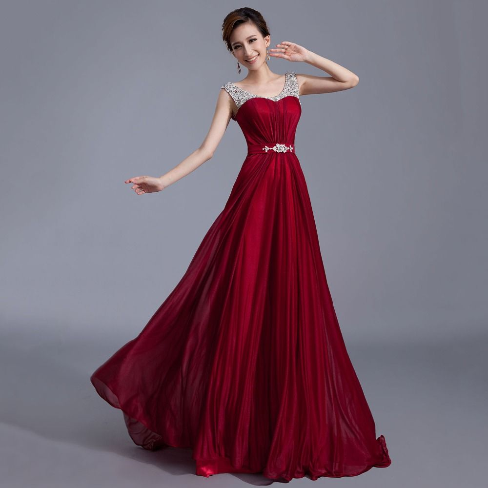 burgundy evening dress long prom dresses 2016 party gown robe de soiree vestidos de fiesta largos elegantes fast shipping