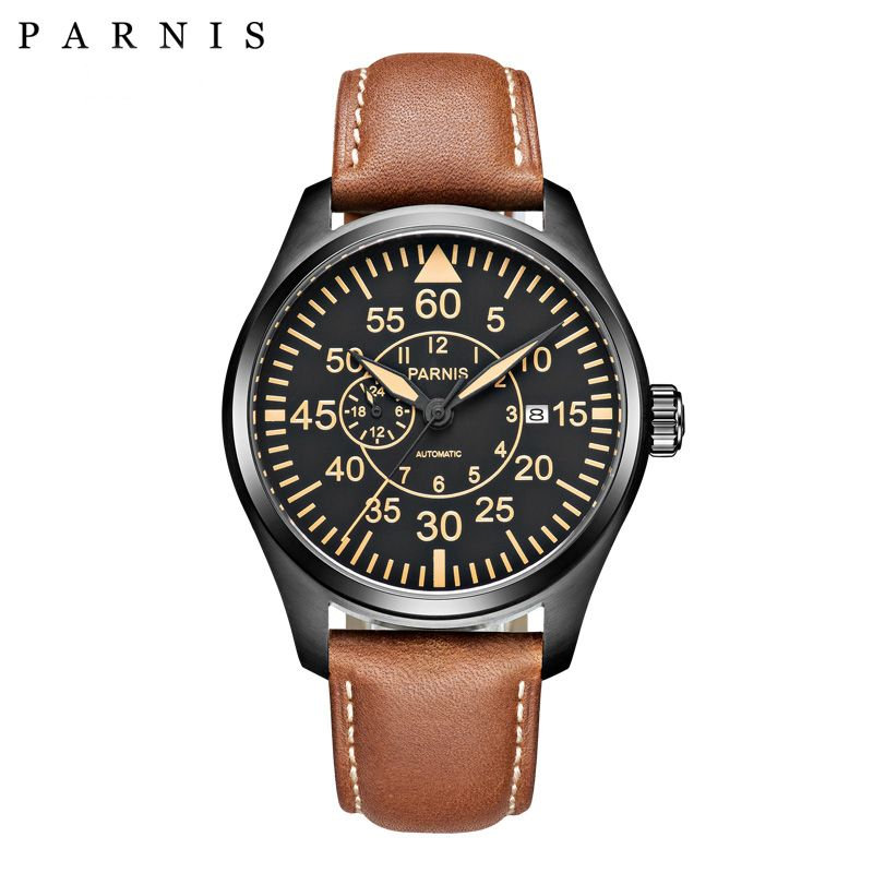 Parnis 44mm Mechanical Watches Japan Mechanic Big pilot Military Watch Luminous Men Watch 2018 Luxury Brand PA6063-A