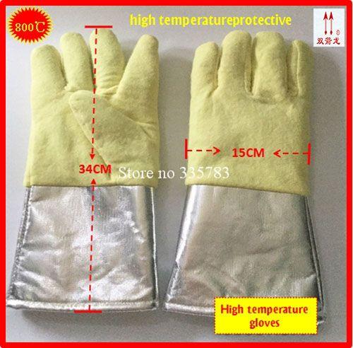 260-800 degrees high temperature gloves Aramid + Aluminum foil megathermal safety glove Flame retardant protection gloves
