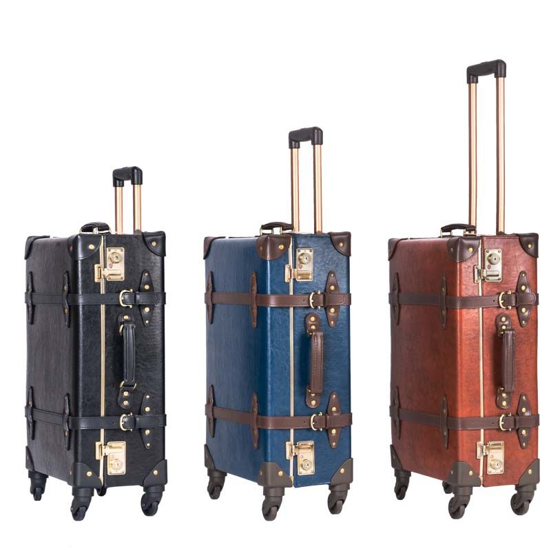 LeTrend Retro Genuine Leather Black Rolling Luggage Spinner Women Trolley Suitcase Wheels 20 inch Vintage Cabin Travel Bag