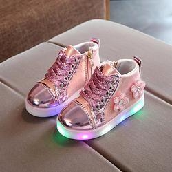 TELOTUNY niños niñas flor Zip cristal LED Light Up zapatillas para los zapatos de la muchacha V1156