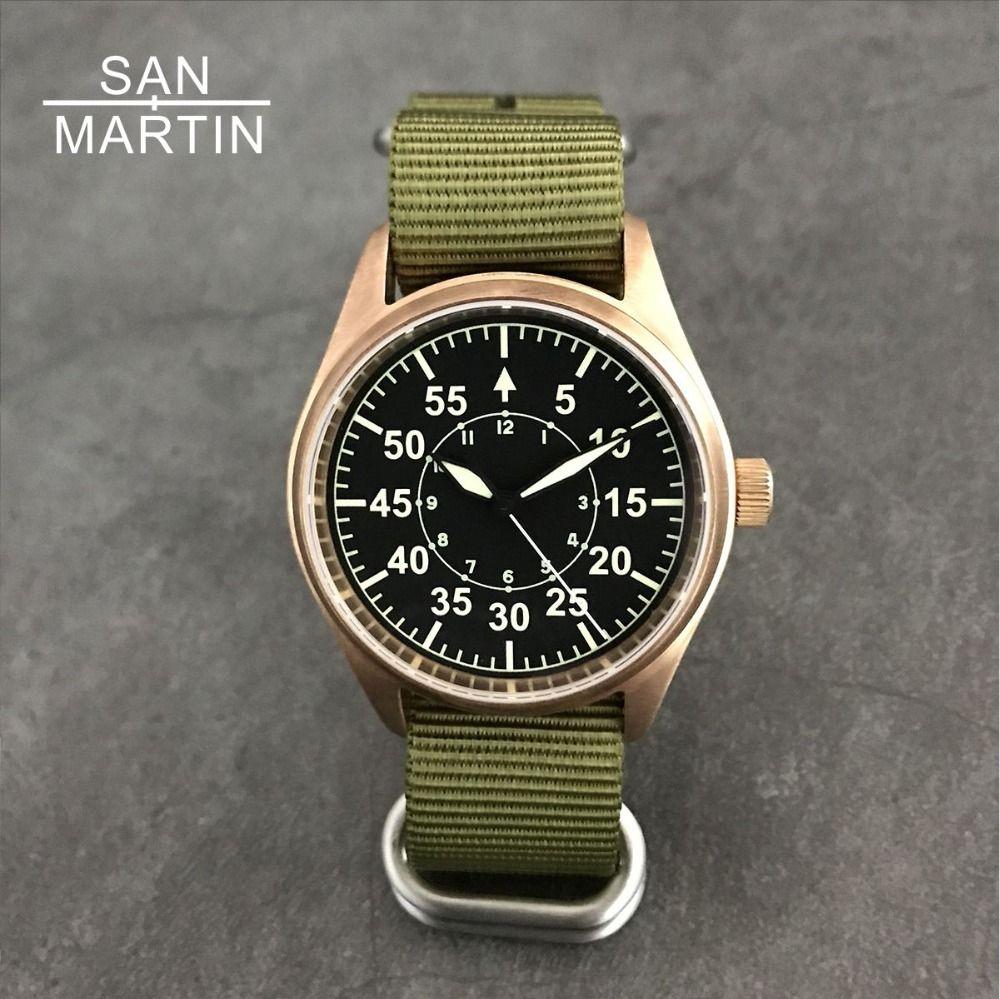 San Martin Men Bronze Pilot Automatic Watch Vintage Diving Wristwatch 200m Water Resistant Relojes Sapphire Glass Hombre 2018