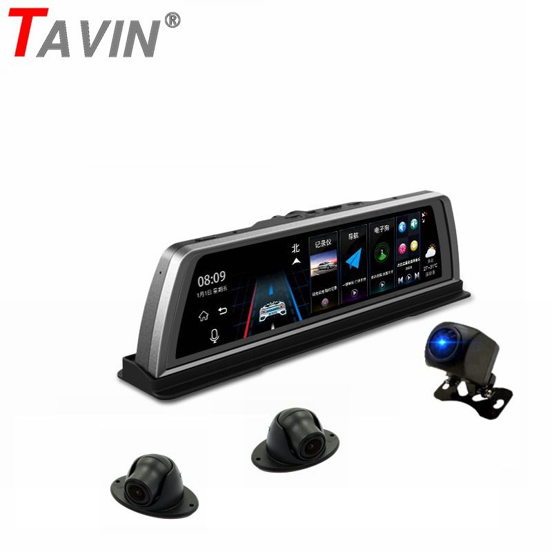 TAVIN 4 Objektiv Kameras 4G ADAS Auto dvr Android 5.1 GPS Dash cam wifi 10 zoll Touchscreen 360 grad nacht vision video recorder