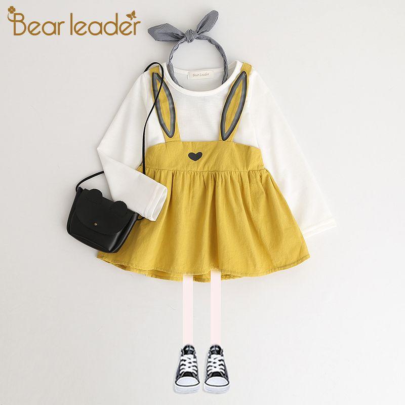 Bear Leader/Платье для маленьких девочек Новинка 2018 года на весну и зиму с длинными рукавами платье принцессы детская одежда для ребенка 6 М-24 м ве...