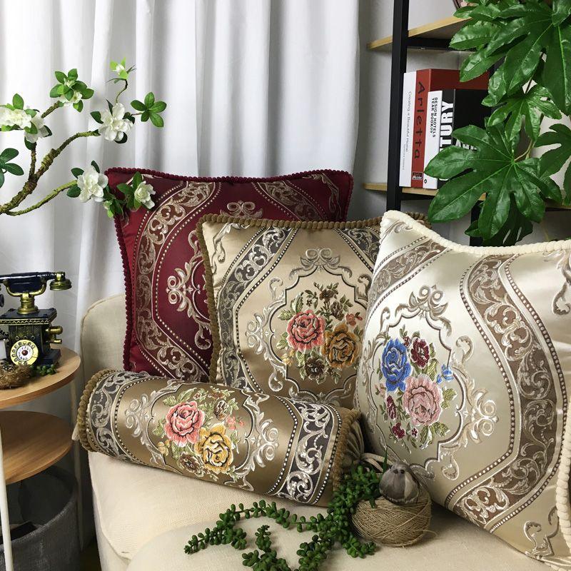 CURCYA Luxe Jacquard Housse de Coussin De Fleurs Rétro Royale Européenne Aulique Élégant Chambre Canapé Décoratif Oreiller Housse