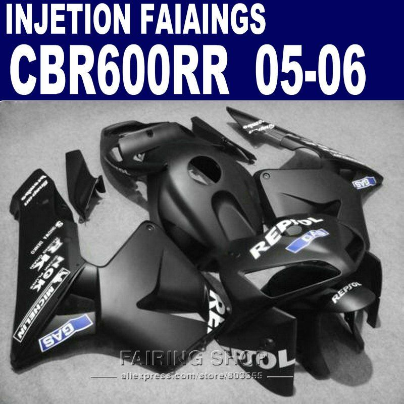 For Honda kits CBR600 RR 2005 2006 ( matte black ) cbr 600rr 05 /06 Fairing kit *EMS free Fairings l54