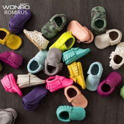 Borlas 26-Color PU cuero zapatos de bebé mocasines recién nacido zapatos suaves bebés cuna zapatos primer Walker