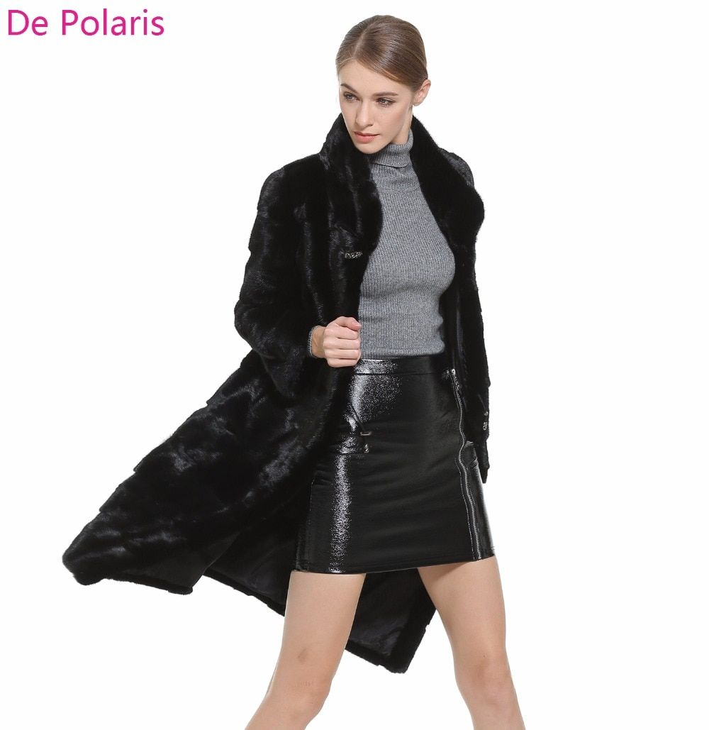 Mink Fur Coat Female Black Natural Fur Coats Hot Real fur coat For Women honorable waistcoat Women real Genuine Fur Coat