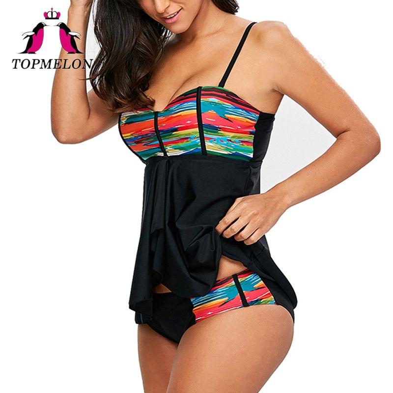 TOPMELON Swimsuit 2017 Women Two Piece Print Push Up Swimwear Plus Size Bathing Suit Beachwear Maillot Sport Swimwear Female