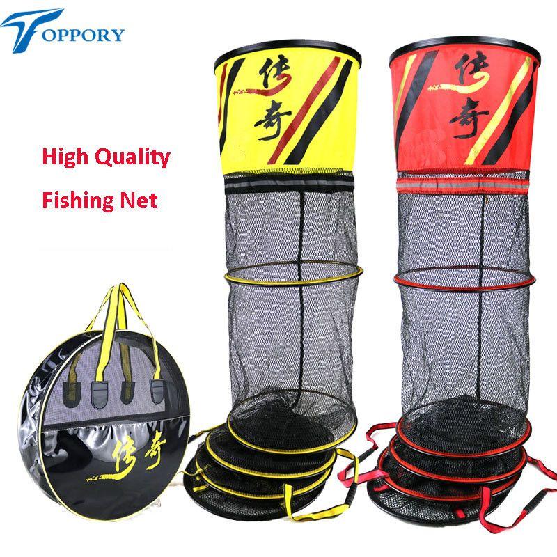 Toppory High Quality Long Fishing Net Diameter 40CM 45CM Stainless Alumium Ring Fishing Network Small Mesh For Fish Kepping