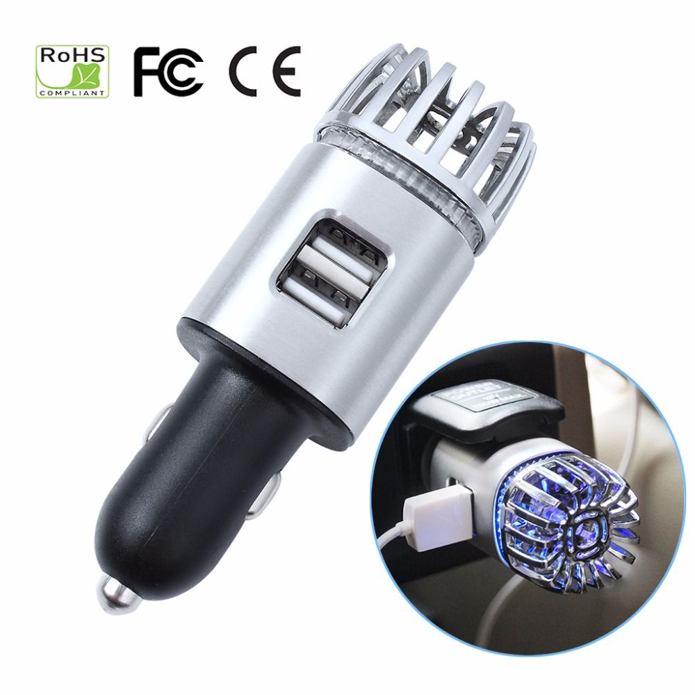 Car Air Purifiers 2 in 1 Negative Lons with Dual USB Charger Ionizer Air Freshener Ionic Odor Eliminator Smoke Bacteria Purifier