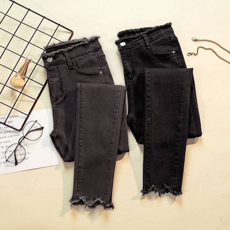 JUJULAND 2018 Jeans Female Denim Pants Black Color Womens Jeans Donna Stretch Bottoms Feminino Skinny Pants For Women Trousers