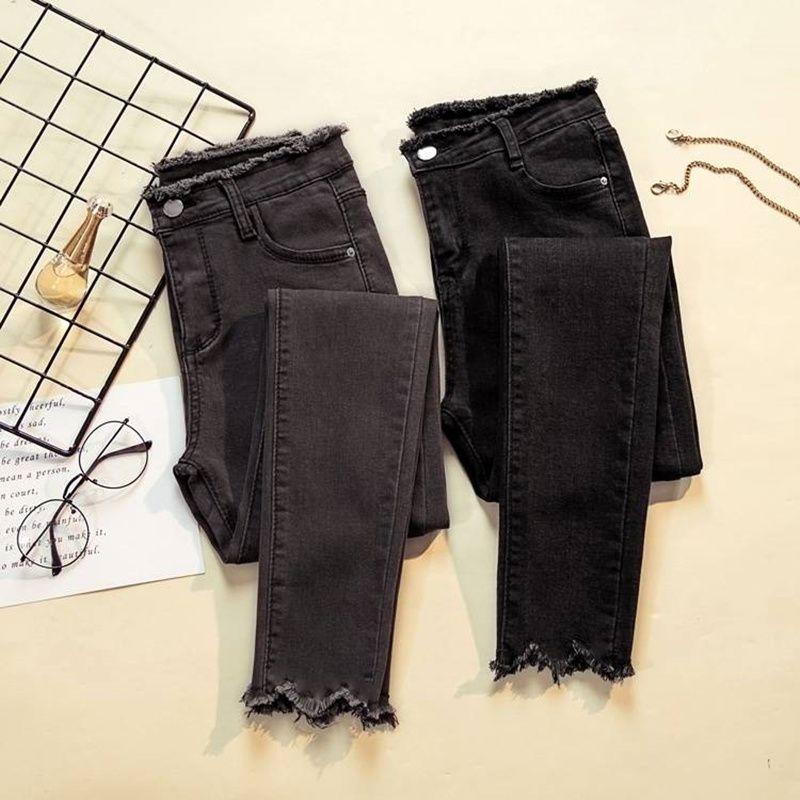 JUJULAND 2019 Jeans femme Denim pantalon noir couleur femme Jeans Donna Stretch bas Feminino Skinny pantalon pour femme pantalon