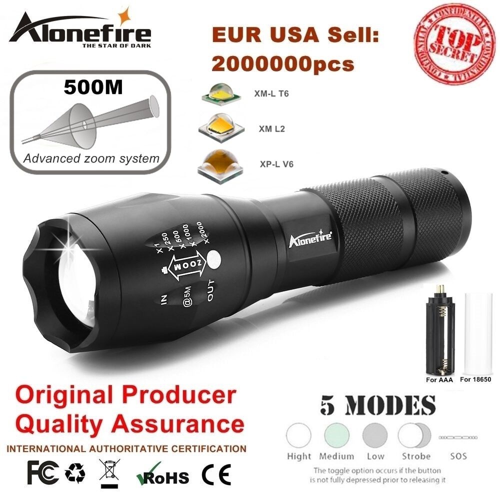AloneFire G700 Cree XM-L T6 Aluminum Waterproof Zoom Led Flashlight Camping Torch Tactical light AAA 18650 Rechargeable Battery