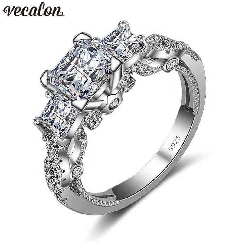 Vecalon Romantic Vintage Female ring Three-stone Diamonique Zircon cz 925 Sterling Silver Engagement wedding Band ring for women