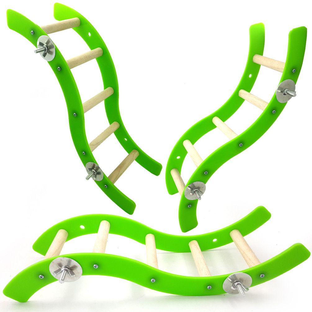 Pet Products Bird Supplies Parrot Toys Multicolored Acrylic Wave Ladder Games toy 2 pc/lot