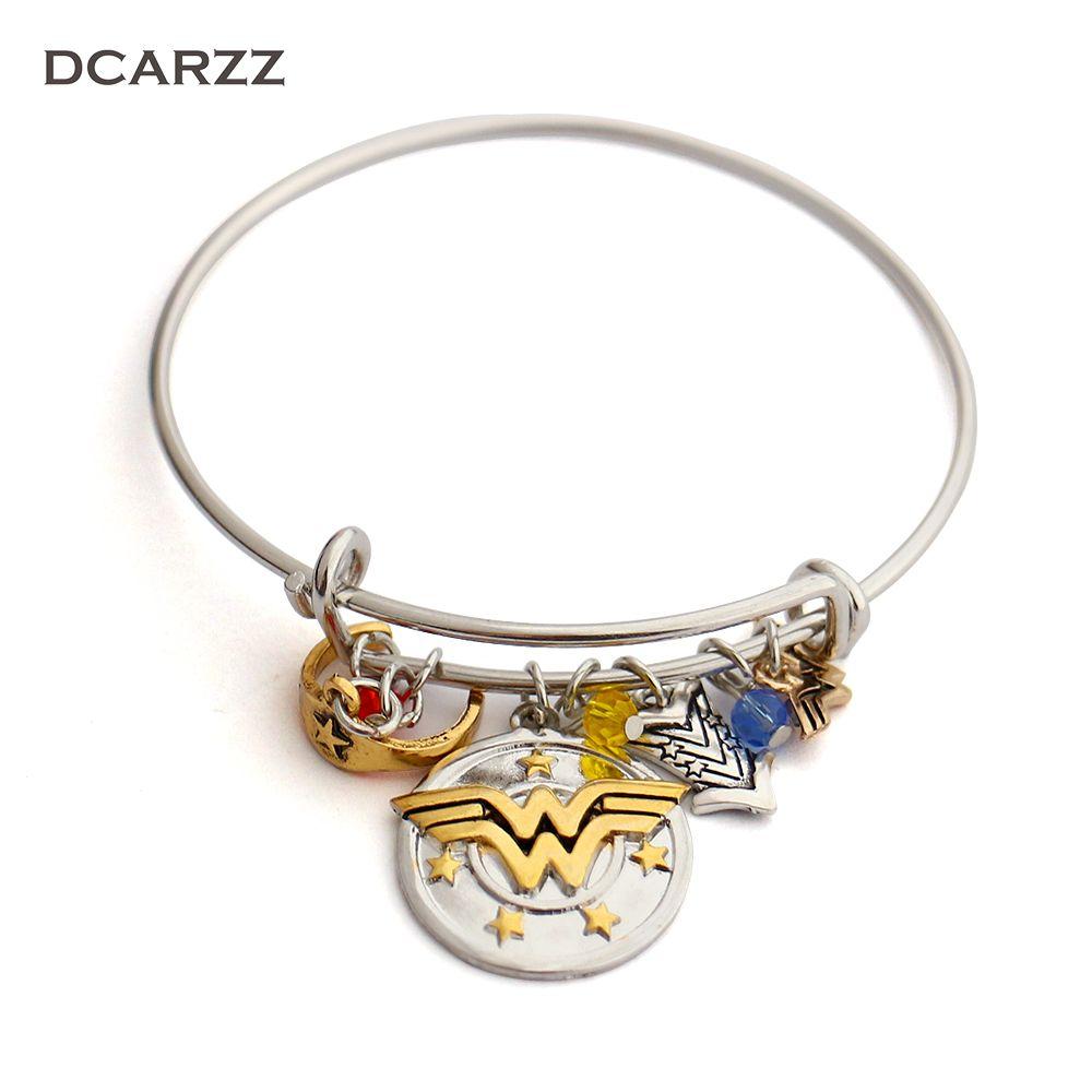 Wonder Woman Charm Bracelet with Armor/Tiara/Crystals Bangle