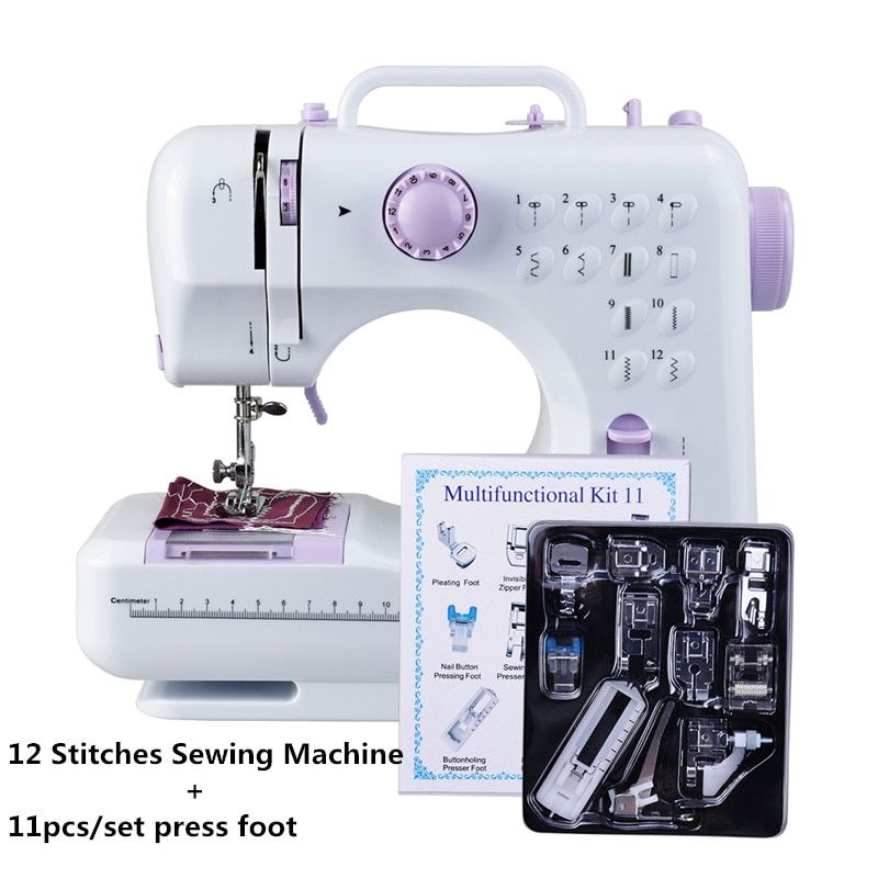 Fanghua Multifonction Mini Machine À Coudre 505A 12 Points Remplaçable + 11 pc Pied Presseur Alimentation LED Lumière des cours de Couture