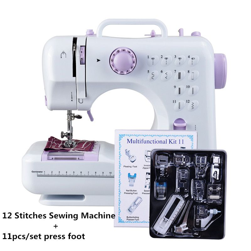 Fanghua Multifunction Mini Sewing Machine 505A 12 Stitches Replaceable + 11pc Presser Foot Power Supply LED Light Sewing classes